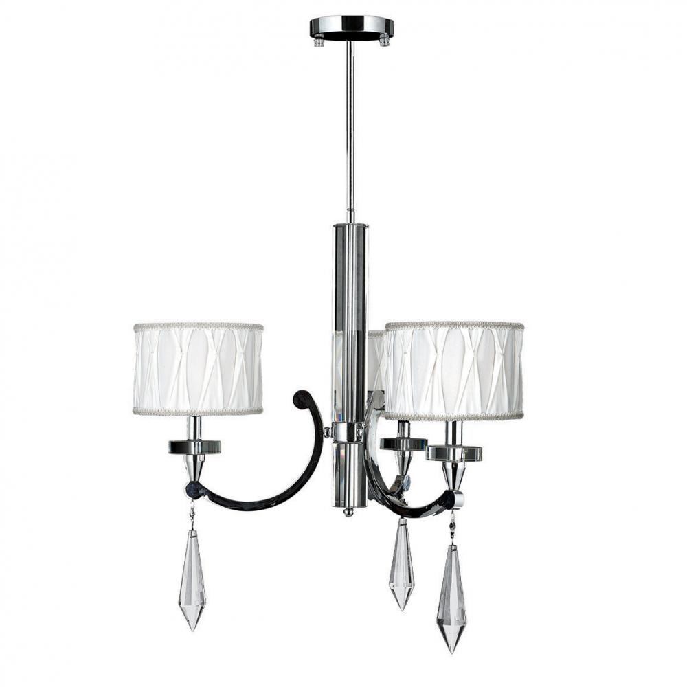 Cutlass Collection 3 Light Arm Chrome Finish And Clear Crystal Chandelier With White Fabric Drum Sha
