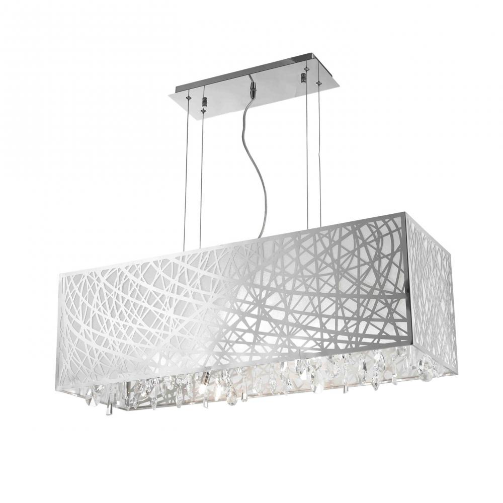 689dd8b3806 Julie Collection 8 Light Chrome Finish Rectangle Drum Shade with Clear  Crystal Chandelier 34